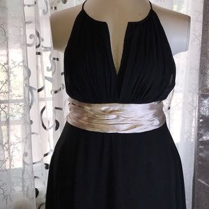 Black dress with fawn color sash